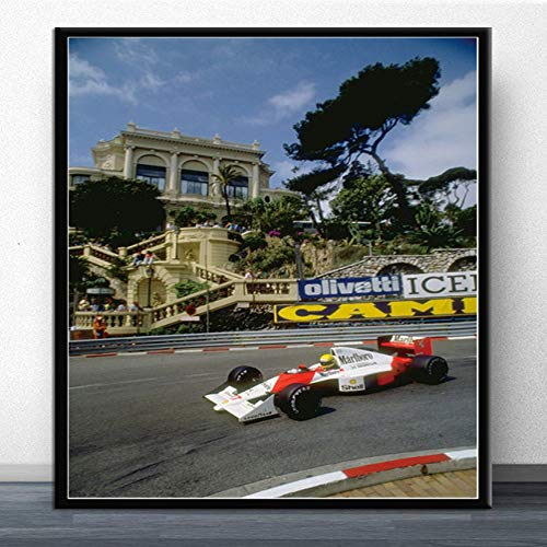 SQSHBBC Poster e Stampe Hot Ayrton Senna F1 Formula Mclaren Campione del Mondo Wall Art Canvas Picture Painting Modern for Home Room Decor A12 50x75cm Senza Cornice
