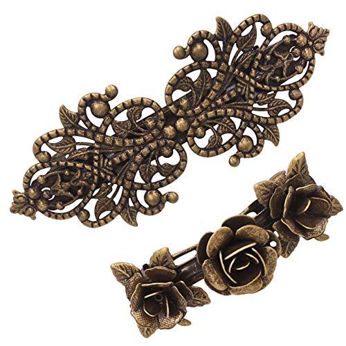 2 teiliges Retro Vintage Metall Französische Haarnadeln Rosen Bronze Zubehör