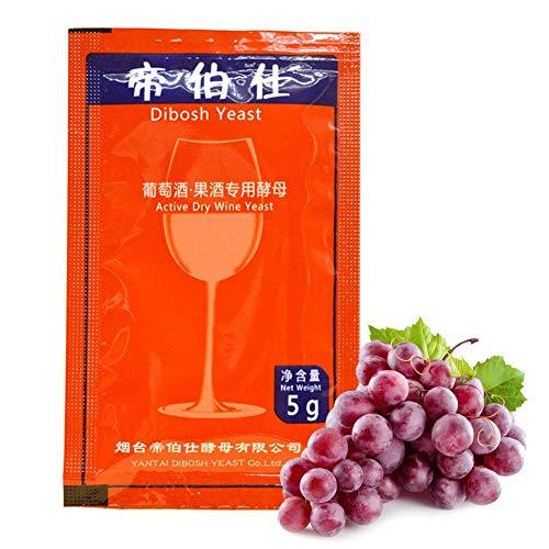 Macddy Levadura De Vino Vino Tinto Y Vino De Frutas- Dibosh Fuerte Pure Turbo Super Yeast- 5g por 25 KG Grapego para Casero
