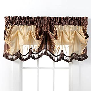 GoodGram Danbury Embroidered Window Treatments Assorted Colors and Sizes (Brown, Single Valance)