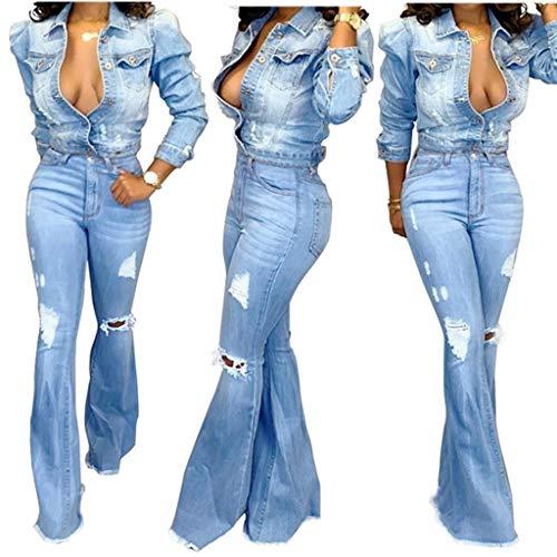 KYZRUIER Nuevas señoras Casual Moda Arrancado Cremallera Bolsillo Recto Pantalones Jeans Pantalones Acampanados