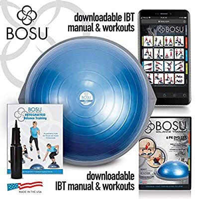Bosu Pro Balance Trainer, Stability Ball/Balance Board with Manual and Guided Workout Downloads (26 Inches)