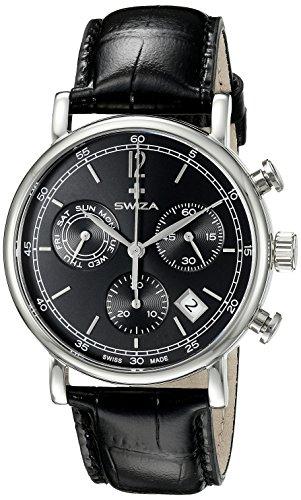 SWIZA Alza Chrono, Schweizer Qualitäts-Quarzlaufwerk, Chronograph, Gehäuse Edelstahl, Schwarzes Lederarmband Luxus Uhr Made in Swiss