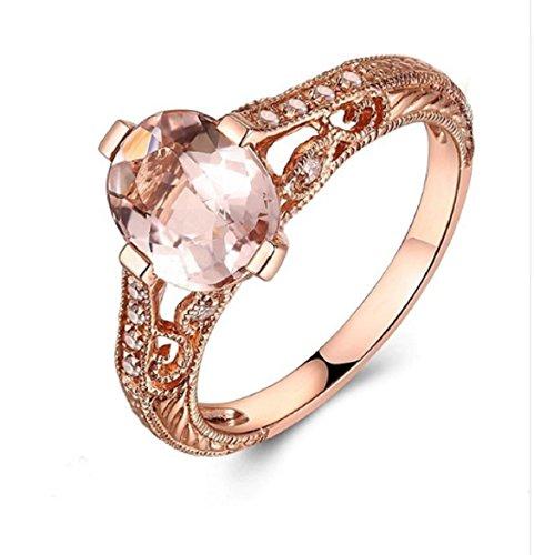 Gowe Oval 9x 7mm Morganit natürlicher Diamant Filigran Hochzeit Ring massiv 10K Rose Gold Art Deco Verlobungsring Edelstein Diamanten Ring