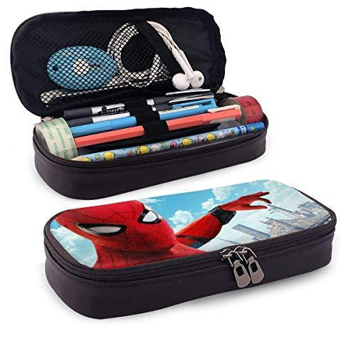 Estuche de cuero para lápices Spider Superhero Estuche para bolígrafos Estuche para lápices Papelería Maquillaje cosmético Bolsa con doble cremallera para adultos Niñas Niños Escuela Oficina