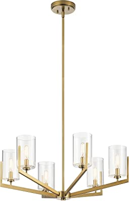 Kichler 52314BNB Nye Chandelier, 6-Light 360 Total Watts, Brushed Natural Brass