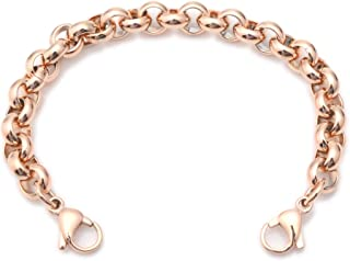 Stainless Steel Rose Gold Rolo Medical ID Interchangeable Bracelet