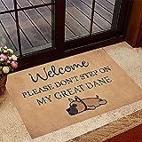 TIANTURNM Felpudo Interior para Puerta Bienvenido, por Favor, no pise mi Felpudo de Gran danés Felpudo de Perro Divertido Regalos para los Amantes de los Perros hogar Regalo inauguración casa 24'x36'