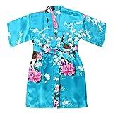 WONDERFIT Girls Stain Kimono Peacock Flower Robe for Spa Wedding Birthday Lake Blue 3-4Y