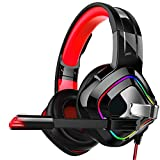 Cuffie Gaming,Effetti Sonori 4D Riduzione del Rumore Dimensioni Regolabili Leggero Traspirante E Confortevole, Splendide Luci Colorate, Microfono Rotante (Color : Red)