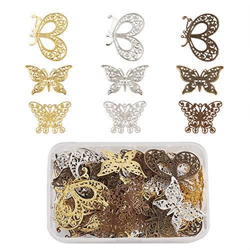 Cheriswelry 90pcs Conector de filigrana de mariposa Colgantes de encanto 3 colores Filigrana tibetana Carpinteros Enlaces Adorno de metal para hacer joyas de bricolaje