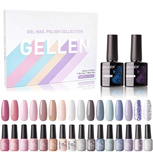 Gellen Gel Nail Polish Kit 16 Colors With Top Base Coat - Pastel and Natural Shades Collection, Nude Grays Pinks Nail Gel Colors, Trendy Opaque and Shiny Glitters Nail Arts at Home Gel Manicure Set