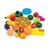 Kitchen Toy Food, 24Pcs Plastic Fruit Vegetable Kitchen Cutting Toy Set Kids Toys