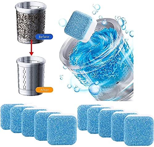 REVWD 10Pcs Washing Machine Deep Cleaner Effervescent Tablet for All Company's Front and Top Load Machine, Descaling Powder Tablet for Perfectly Cleaning of Tub & Drum Stain Remover Washer (10)