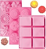 OBSGUMU 3 Pack Silicone Soap Molds,6 Cavities Silicone Baking Mold,Rectangle and Different Flower Shapes, Perfect for Soap Making, Handmade Cake Chocolate Biscuit, Pudding (Pink)