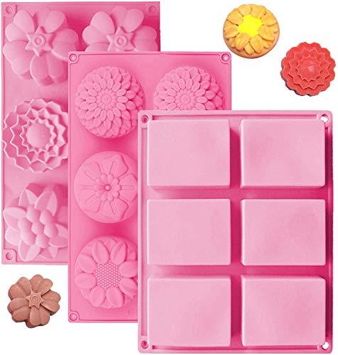 OBSGUMU Juego de 3 moldes de silicona para jabón, 6 cavidades, rectangulares y otras formas de flores, perfectos para hacer jabón, galletas hechas a mano, chocolate, pudín, sin BPA (rosa)