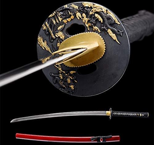 YONG XIN SWORD Samurai Katana Sword Japanese Full Tang Sharp 1060 Carbon Steel Damascus Handmade Clay Tempered (Dragon-1060)