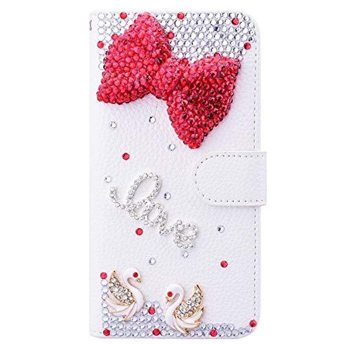HongHushop 3D Bling Strass Glitter PU Leder Handyhülle für Nokia 4.2 Spiegel Diamant Schnalle Hülle [Kartenslots] [Magnetverschluss] Schutzhülle für Nokia 4.2 - Rote Schleife