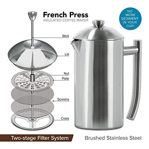 Frieling 1810 ステンレススチール French Press 艶消し色 3-4カップ