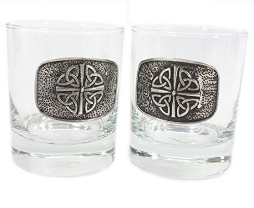 Trinity Knot Irish Whiskey Glasses Quadruple Trinity Set of Two Made in Ireland