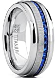 men's titanium wedding band engagement ring w/blue simulated sapphire cubic zirconia princess cz 10