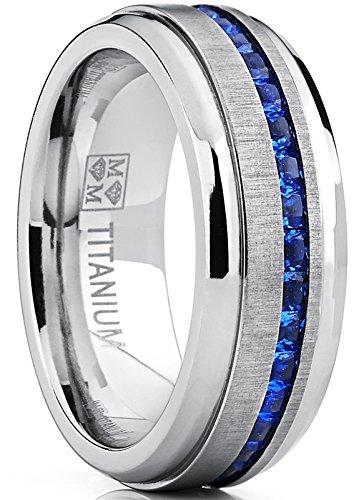 Metal Masters Co. Men's Titanium Wedding Band Engagement Ring W/Blue Simulated Sapphire Cubic Zirconia Princess CZ 7.5