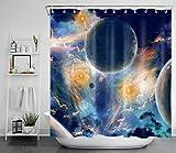LB Universum Duschvorhang Antischimmel Wasserdicht Badezimmer Gardinen Planeten & Sternenhimmel in der Galaxie 180x180cm Polyester Bad Vorhang mit Haken