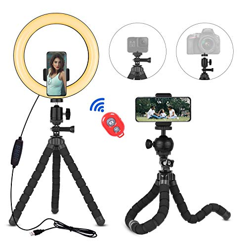 Emart 10'' Selfie Ring Light with Flexible Tripod Stand with Bluetooth for Live Stream/Makeup/YouTube Video/Photography, Dimmable LED Camera Ringlight & Universal Cell Phone Holder Fits iPhone/Android