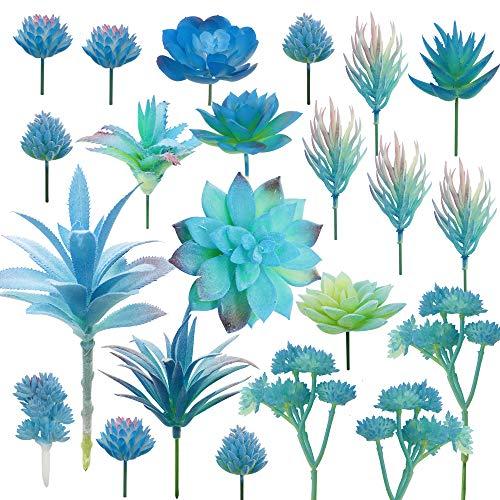 Cayway 10 Pz Suculentas Falsas Suculentas Plantas Artificiales, Azul Artificiales Surtidas Suculentas Faux Suculentas para Decoración del Hogar, Decoración de Pared, Jardín, Bricolaje