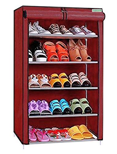 FLIPZON Premium 5-Tiers Shoe Rack/Multipurpose Storage Rack with Dustproof Cover (Iron Pipes, Non Woven Fabric, Plastic Connector) (Maroon)