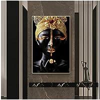 黄金の王冠を持つ黒人女性キャンバスアートポスターとプリントメイクアップアートキャンバス絵画壁にアート写真家の装飾70x100cm(28x40in)
