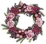 dekojohnson Weihnachtskranz Weihnachtsdeko-Kranz Türkranz Adventskranz Weihnachtskugeln Kranz Winterkranz Tischkranz rosa violett grün Ø 30cm