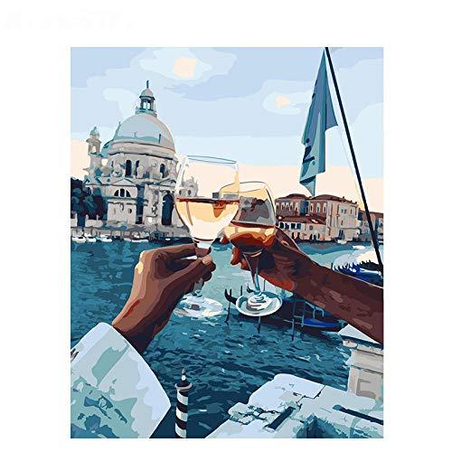Pintura por Números para Adultos y Niños, Mano y copa de vino de río Principiantes Fácil DIY Pintura al Óleo por Números Decoración del Hogar, 40x50 cm (sin Marco)