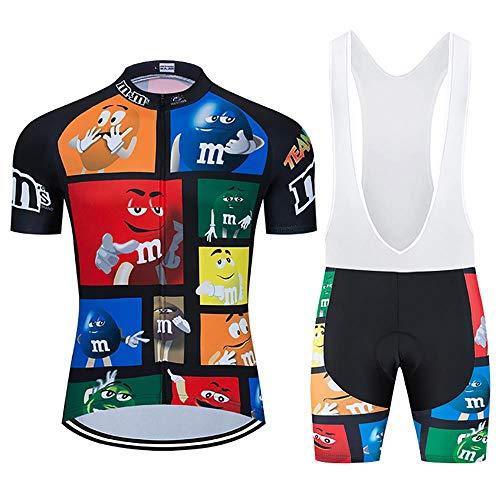 Moxilyn Abbigliamento Ciclismo Uomo Completo Maglia Ciclismo+20D Gel Bib Pantaloncini MTB Estivo Set per Bicicletta