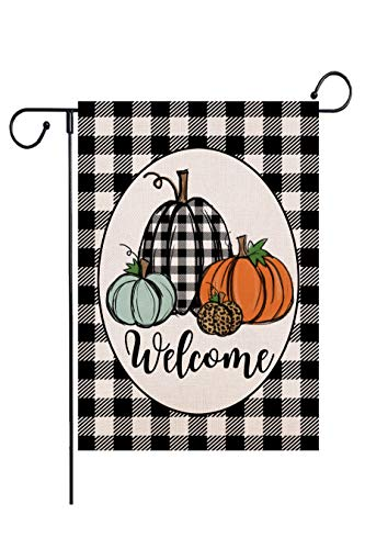 Wencal Buffalo Check Plaid Welcome Fall Pumpkins Garden Flag Double Sided Autumn Farmhouse Outdoor Decorations - 12.5 x 18 Inches