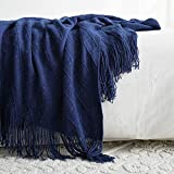 100% Acrylic Knit Throw Blanket, 50×60 Inch - Soft Warm Cozy Lightweight Decorative Blanket with Tassels for Couch, Bed, Sofa, Travel (Navy Blue)