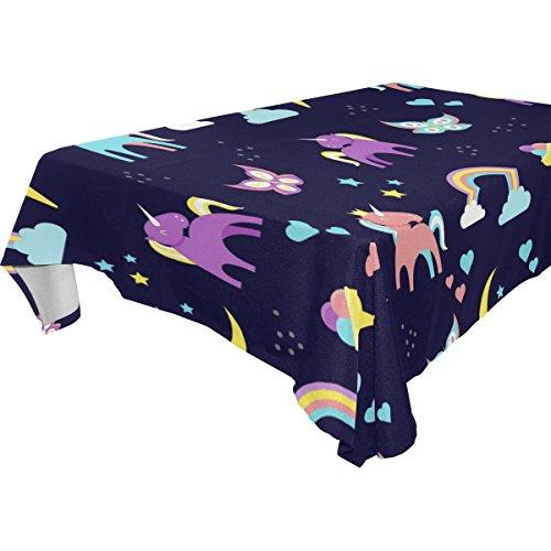 Coosun rectangle Licorne et Rainbow Nappe pour fête de mariage Vacances lavable Housse de nappe Polyester, 137,2 x 137,2 cm, Polyester, Multicoloured, 60x120(in)