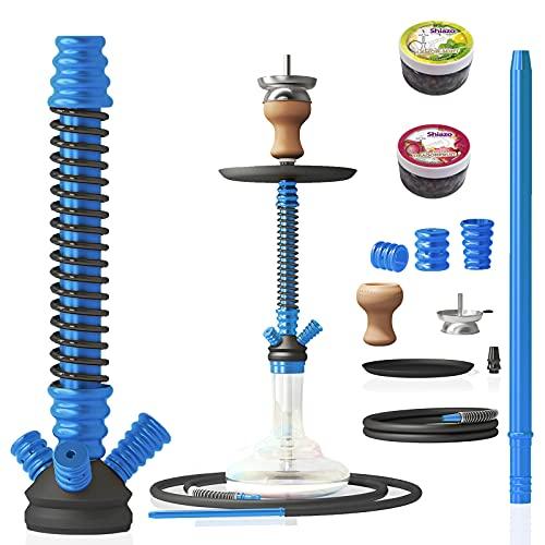 RMAN® Shisha Hookah Cachimba Narguile Aluminio agua tubo vidrio fumar 66 cm con 2x100gr piedras, pinzas para carbón (azul)