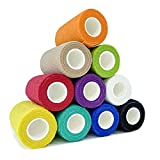 [8 Pack-4'x5Yards] Assorted Color- Self Adhesive Bandages Wrap, Athletic Elastic Cohesive Bandage for Vet Wrap, Sports Injury, Strain, Knee&Wrist, Ankle Sprains. First Aid Non-Woven Bandages