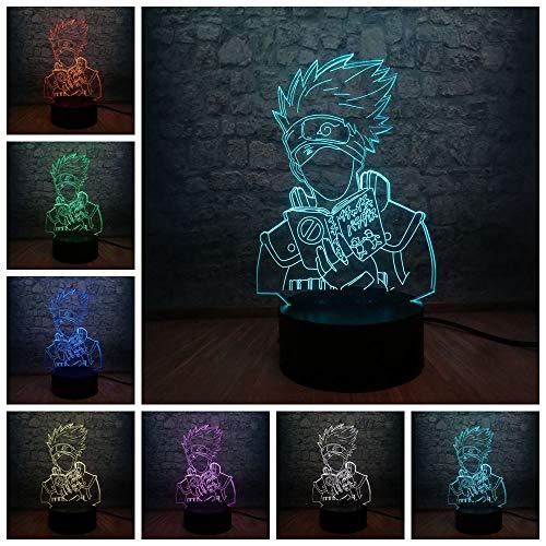 Wfmhra Anime Naruto Figur Hatake Kakashi 3D LED Farbverlauf Nachtlicht Batteriebetrieben Teen Room Decor Kinder Kreatives Geburtstags