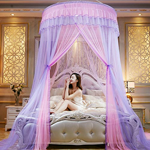 TYMX Multicolor Dome Suspended Ceiling Mosquito Protection Net Bed Canopy Bedroom Room Lace Mosquito Net (Purple Pink)
