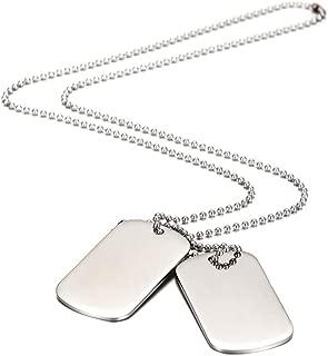 Colgante para hombre con cadena y 2 placas de Wistic Jewelry, de acero inoxidable