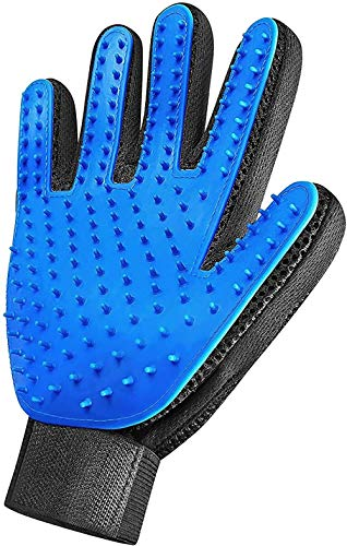 XZYC Pet Grooming Glove-Gentle Deshedding Brush Glove-Efficient Pet Remover Mitt-Massage Tool with Enhanced Five Finger Design-for Dogs & Cats with Long & Short Fur,(Blue-Only Right Hand)
