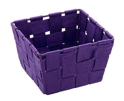 WENKO Aufbewahrungskorb Adria Mini Lila, quadratisch Füllkörbchen Wäschebox