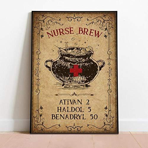 Verpleegster Brew Halloween Poster Verpleegster Brew Ativan Haldol Benadryl Art Halloween Muur Ed Home Decor Beste Geschenken Metalen Teken Poster 12x16 inch