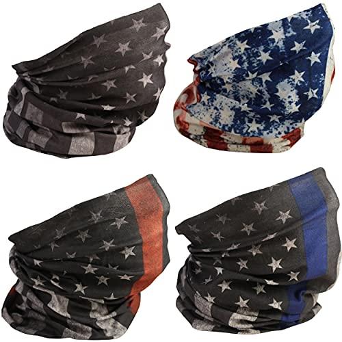 [4 Pack] UV Cooling Flag Neck Gaiter | UPF 50+ Sun/Wind/Dust Protection | Multipurpose Neck Gaiter for Men and Women | Summer Buff Tube Bandana Gaiter Mask Seamless Face Cover