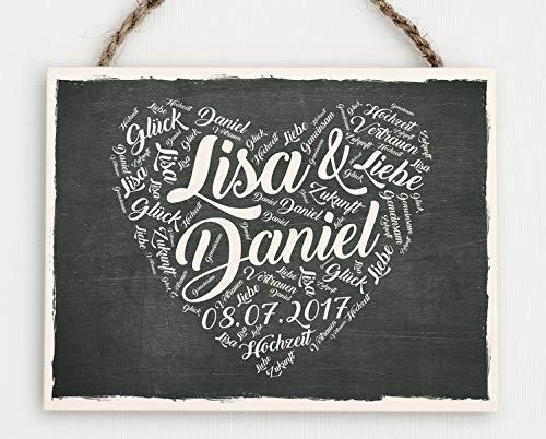 Hochzeitsgeschenk I Geschenk zur Hochzeit I Holzschild Brautpaar I Persönliches Geschenk zur Hochzeit I individualsiert I Für das Brautpaar