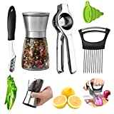 Stainless Steel Pepper or Salt Grinder, Lemon Press Squeezer, Onion Holder Slicer and Jalapeno Pepper Corer with a Funnel, yamesu 5 pieces Seasoning and Spice tools