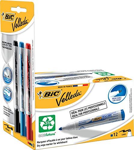Velleda 942235–Pack di 12pennarelli per lavagna bianca e 3Prenotazioni di inchiostro, colore: blu
