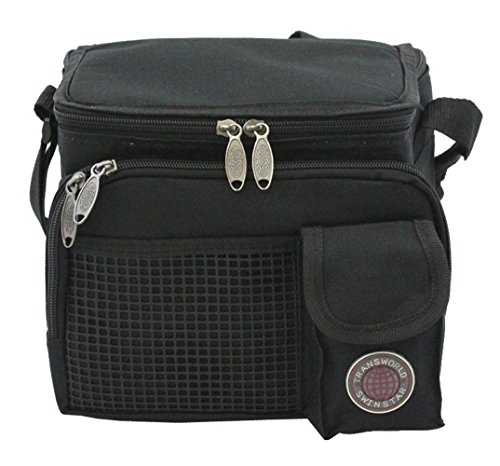 """Transworld Durable Deluxe Insulated Lunch Cooler Bag (Many Colors and Size Available) (9"""" x 7"""" x 8"""", Black)"""